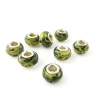 4 LAMPWORK 14X9MM GLASS BEADS 5mm HOLE  LIME